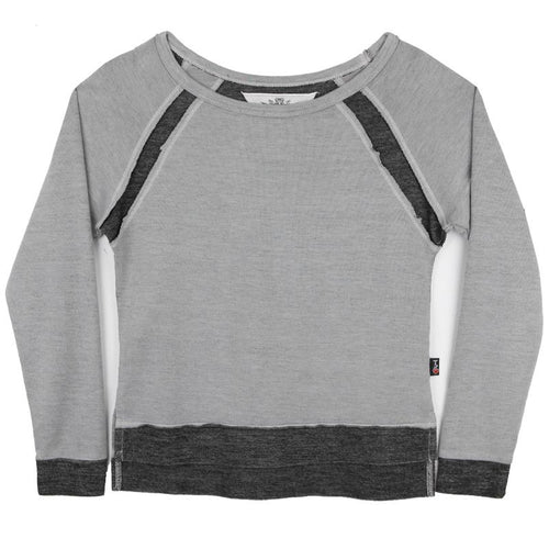 Light grey girls sweatshirt with dark grey trims, cuffs and hem