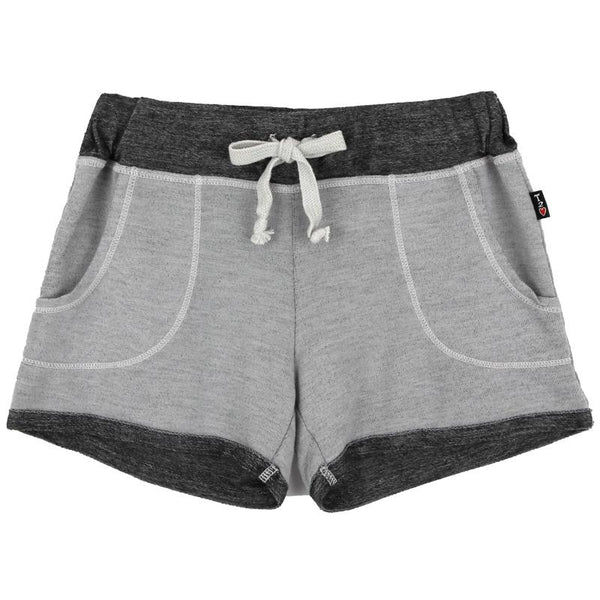 Light and dark grey girls track shorts with drawstring and pockets