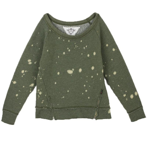 T2Love Olive Side Zip Paint Splatter Girls Sweatshirt