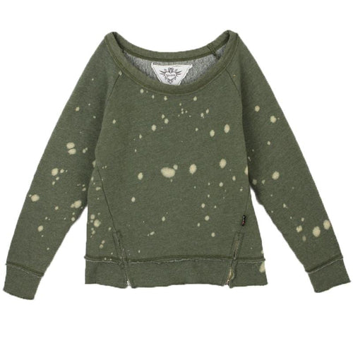 Olive green tween tie dye sweatshirt for girls and tweens