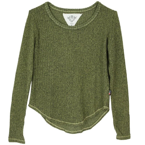Olive green thermal tween and girl top