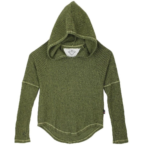 T2Love Olive Hooded Thermal Girls Hoodie with Thumbholes