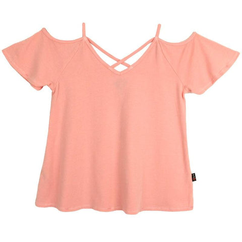 T2Love Pink Cold Shoulder Girls Top