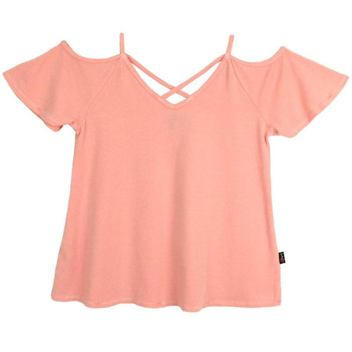 T2Love tween girl pink cold shoulder top