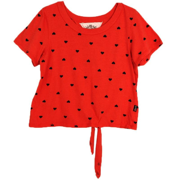 Tween girls red short sleeve tee with heart print by T2Love