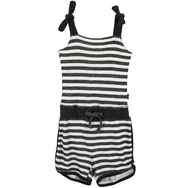 Grey striped sleeveless girls shorts romper with tie shoulders