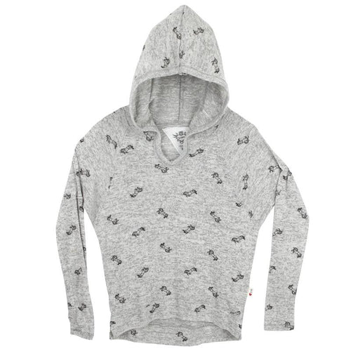 T2Love unicorn printed grey gils sweater with hood