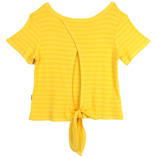 Tween girl yellow tie back short sleeve top by T2Love
