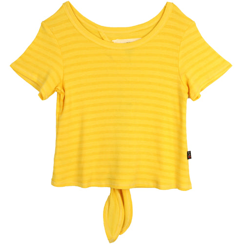 T2Love tween girl yellow tie back short sleeve girls top