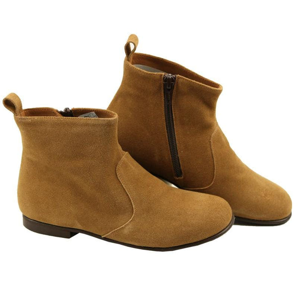 ef4878ec7096c Caramel Suede Girls Ankle Boots by PePe Shoes