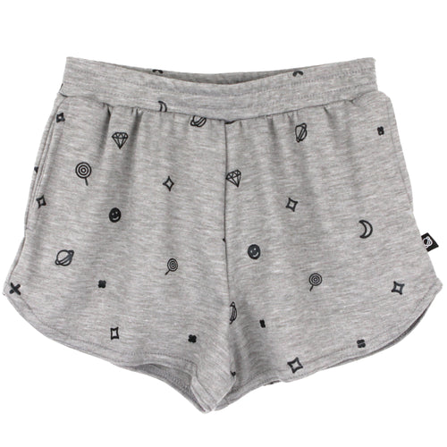 Girls grey jersey shorts with foil print