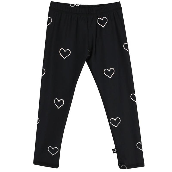 Girls black leggings with silver heart print