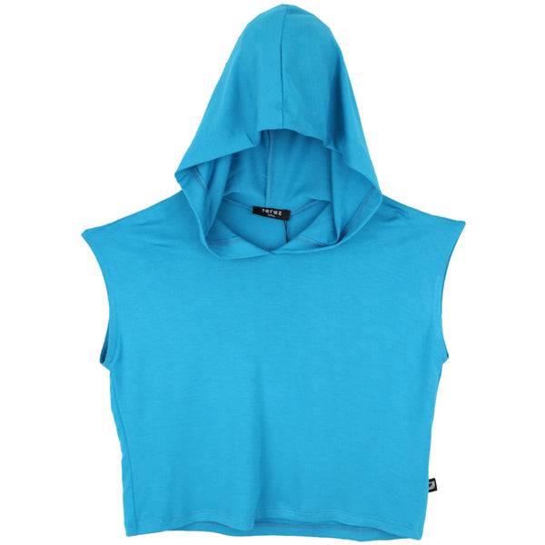 Tween girl cropped turquoise hooded top