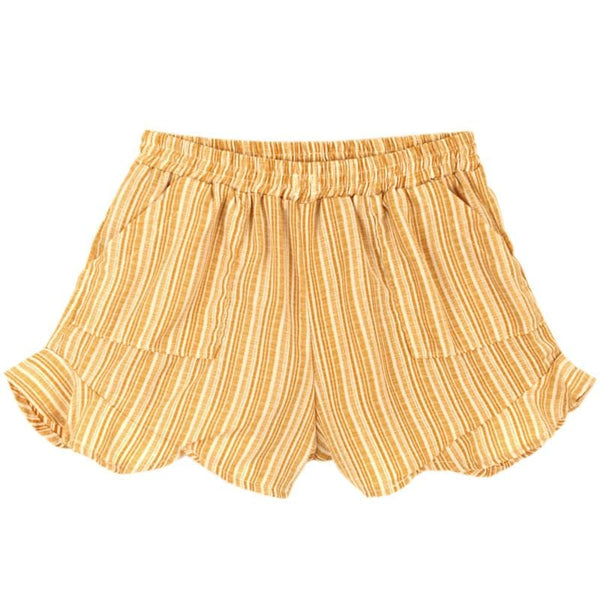 Tiny whales yellow stripe tween and girls shorts