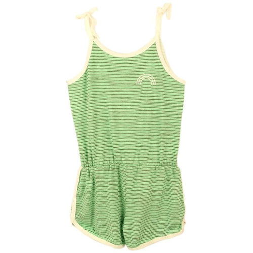Tiny whales green stripe shorts girls romper