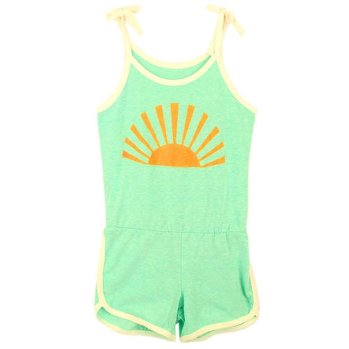 Tiny whales green shorts tween and girls romper
