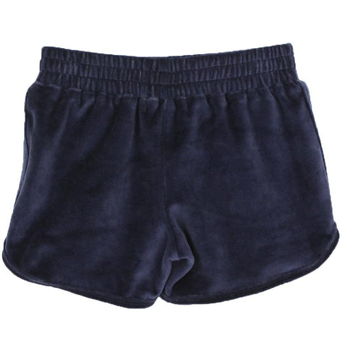 Navy blue velour short shorts with elastic waist