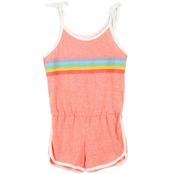Tiny whales coral rainbow shorts girls romper