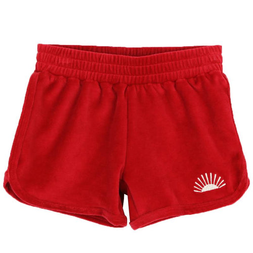 Girls red velour shorts with elastic waist
