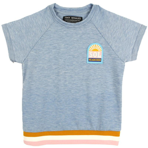 Girls light blue shirt with stripe trim and sunshine graphic