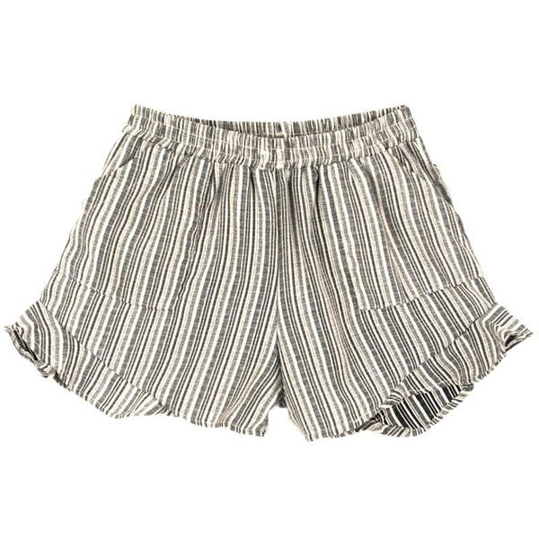 Tiny whales navy stripe girls shorts with ruffles