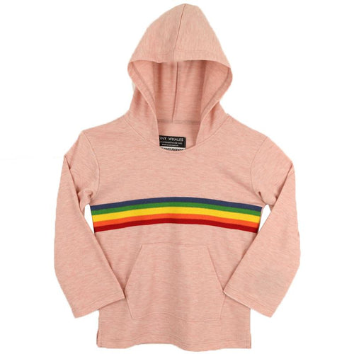 Light pink hoodie with sunshine and rainbow graphic for girls