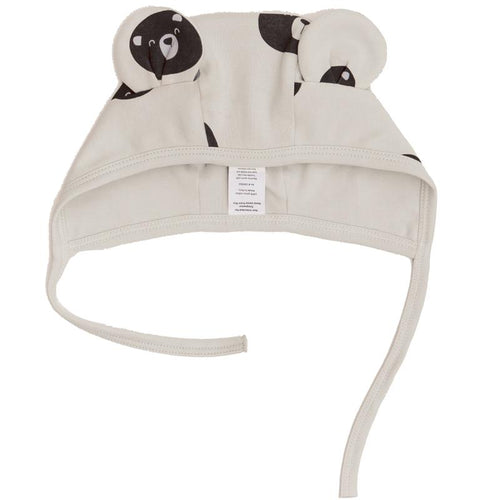 Cream baby bear print hat with ears and tie
