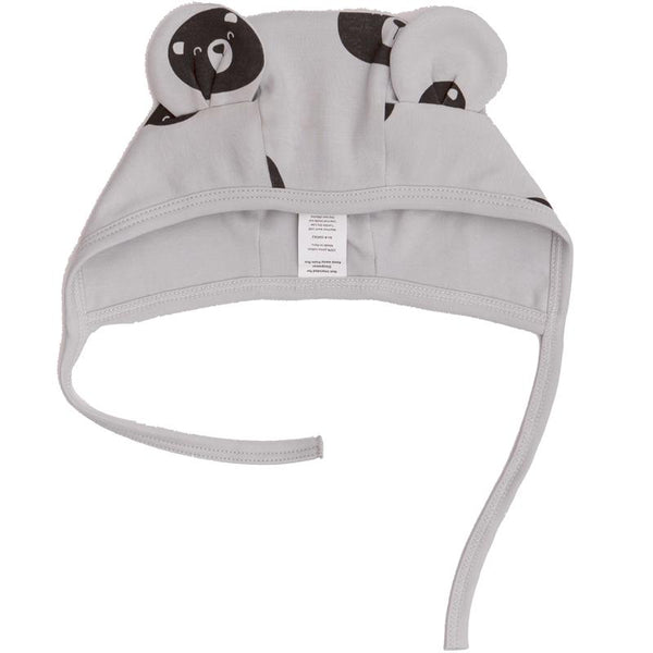Grey bear printed baby hat with bear ears