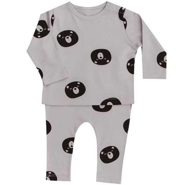 Baby boy grey bear print two piece outfit