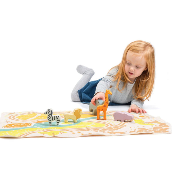 Tender Leaf Safari Play Mat and Wooden Toy Set