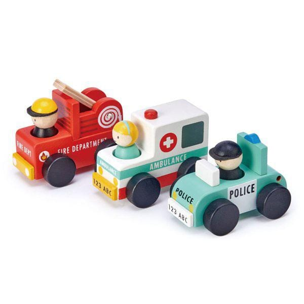 Tenderleaf toys wooden toy emergency vehicles