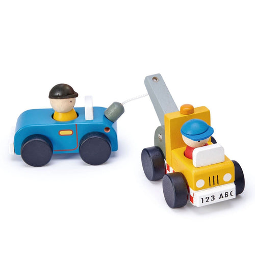 Tenderleaf toys wooden tow truck toy car