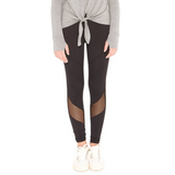 black tween leggings with chevron cut out on calf