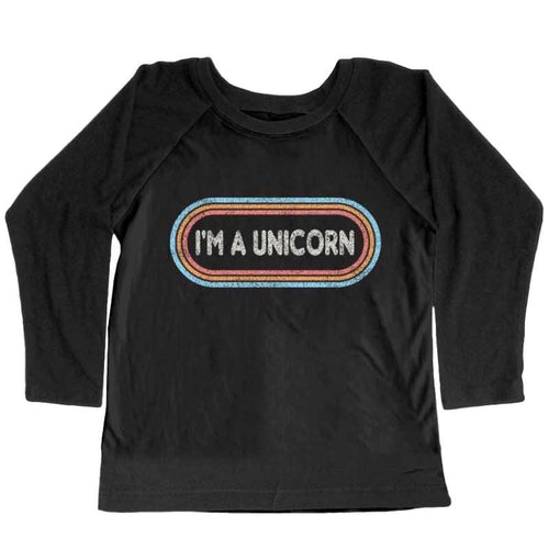 Tiny Whales unicorn black long sleeve girls t shirt