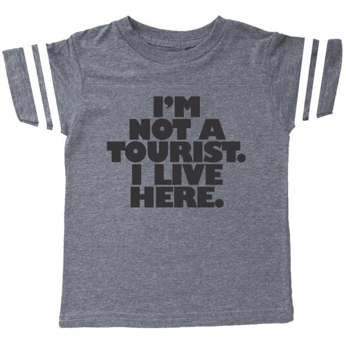 Grey short sleeve boys tee with tourist graphic