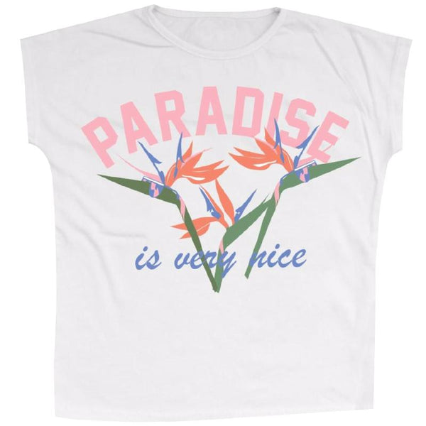 Girls white short sleeve tee with paradise and flower graphic