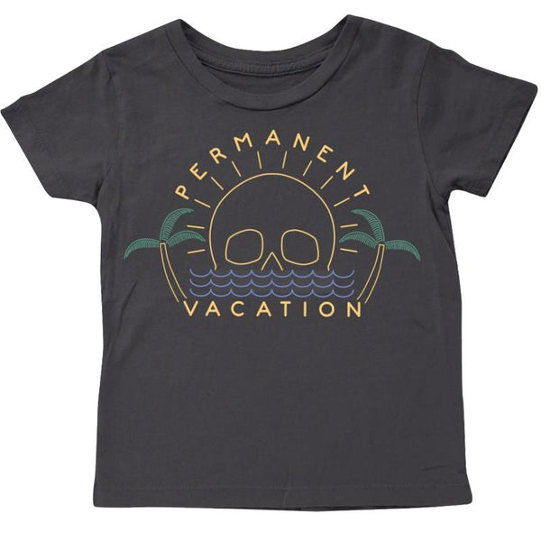 Boys black short sleeve tee with permanent vacation graphic
