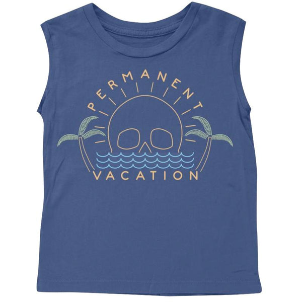 Boys navy blue muscle tank with vacation graphic