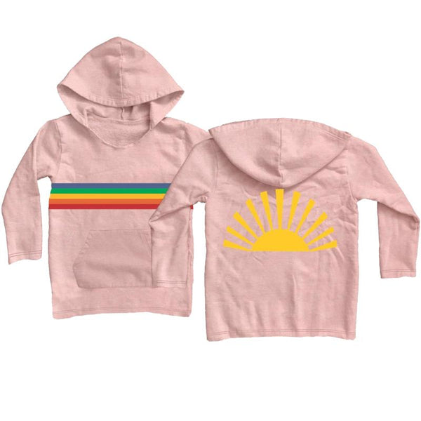 Girls light pink hoodie with sunshine and rainbow graphic
