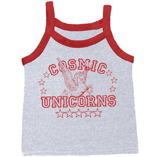Girls grey tank top with red trim and cosmic unicorn graphic