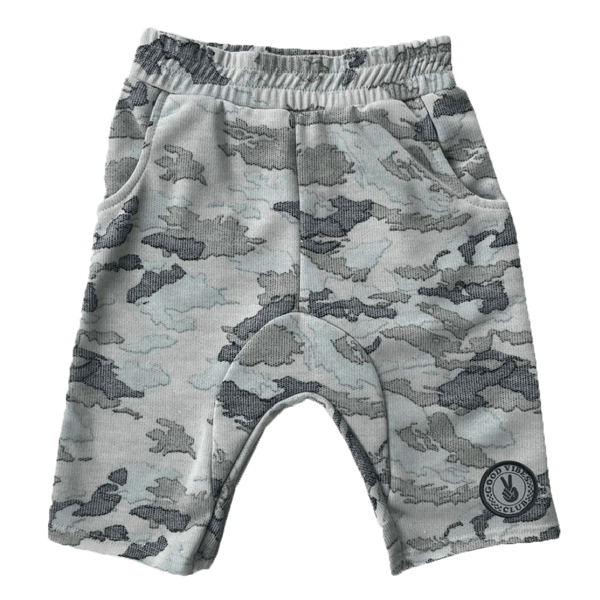 Tiny whales grey camo toddler and boys shorts Bermuda length