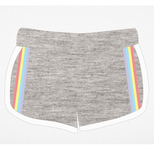 Tiny whales grey knit rainbow stripe girls shorts