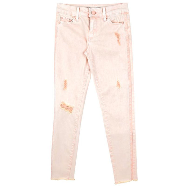 Pink ankle crop tween jeans with distressing