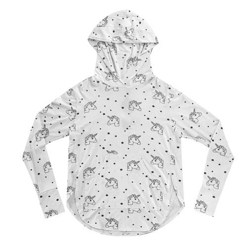 White girls hoodie with black unicorn and star print