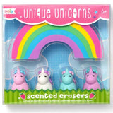 Unicorn and rainbow kids erasers set