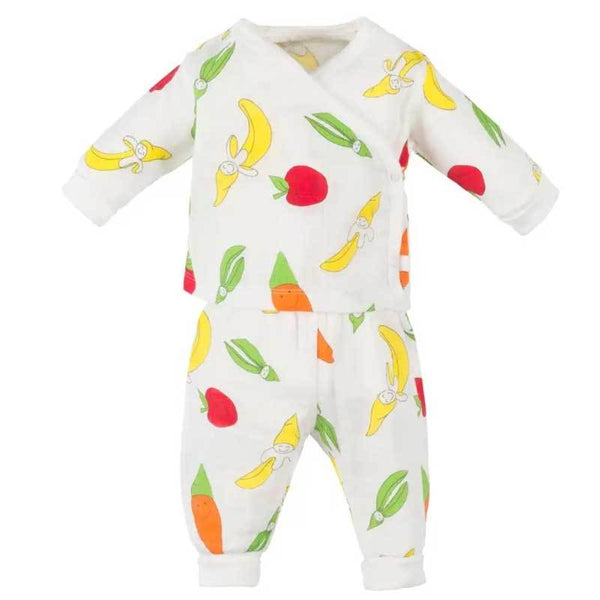 Baby muslin organic pants and kimono set with vegetable print