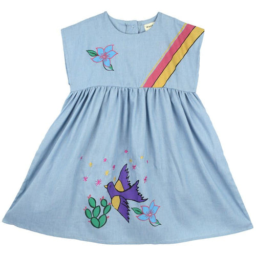 Short sleeve light blue dress with bird and rainbow graphic
