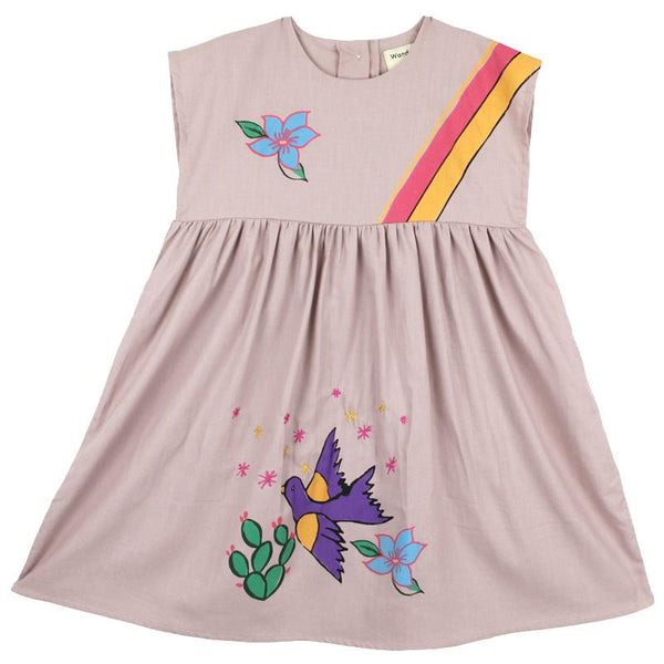 light pink short sleeve girls dress with bird and rainbow graphic