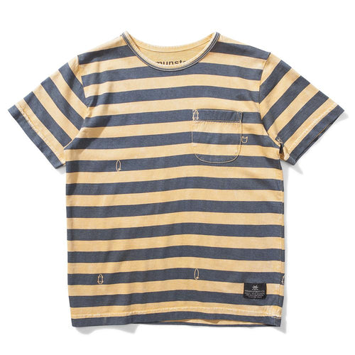 Boys yellow and grey striped jersey tee