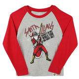 Santa rock raglan tee with red sleeves